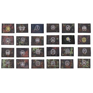 Bundeswehr (Bw) Nylongeldbörse/Geldbörse, flecktarn, mit gesticktem Abzeichen, Klettverschluß + Ausweisfenster
