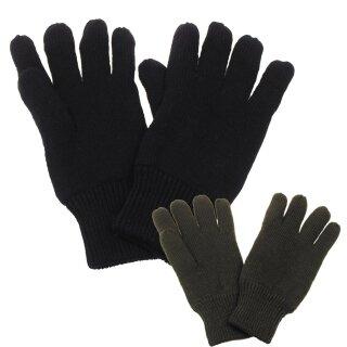 Strick-Fingerhandschuhe mit Thermofütterung in den Farben schwarz oder oliv