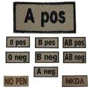 Abzeichen Blutgruppen/ NO PEN / NKDA in khaki auf Klett