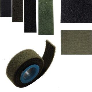 Klettband Haken oder Flausch oder Spezial-Klett als Packriemen, 25, 50 oder 100 mm schwarz o. oliv
