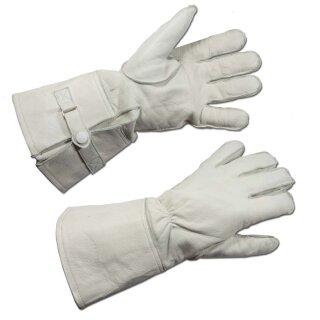 Stulpenhandschuhe der Feldjäger, Lederhandschuhe, Farbe: weiß -gebraucht-