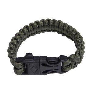 Armband Parachute Cord mit intigriertem Zündstahl und Notpfeife von RELAGS