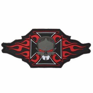 Emblem 3D PVC Eisernes Kreuz + Totenkopf mit Flammen #3006
