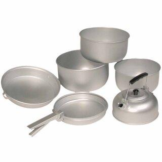 Koch-Set aus Aluminium von MIL-TEC® (3 Töpfe, 1 Pfanne & 1 Teekessel)