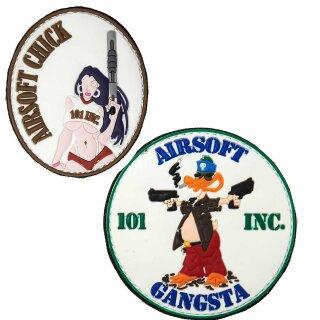 Emblem 3D PVC Patch Airsoft Chick oder Gangsta