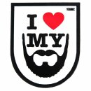 Emblem 3D PVC Rubber Patch I love my Beard weiß
