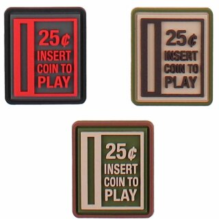 Emblem 3D Rubber Patch Insert Coin to Play