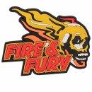 Emblem 3D Rubber Patch Fire & Fury Skull  #5105