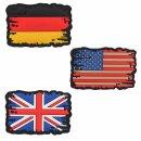 Emblem 3D Rubber Patch Vintage Flagge BRD / USA oder UK