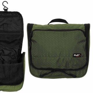 Kulturtasche zum Hängen von Fox Outdoor aus Rip Stop-Nylon, Farbe: oliv