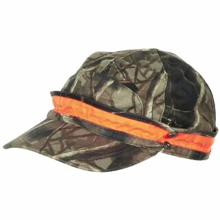 Jäger-Cap Hunter-Braun mit Schirm & orangenem Leuchtstreifen