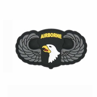 Patch 3D PVC Airborne 101st SIlver Wings