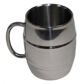 Krug Fass von MFH aus Edelstahl, 450 ml oder 1000 ml, doppelwandig