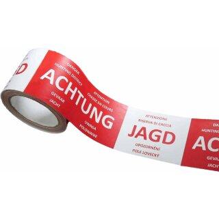 Absperrband ACHTUNG JAGD Warnband -International-, Deutsch mit 6 Übersetzungen