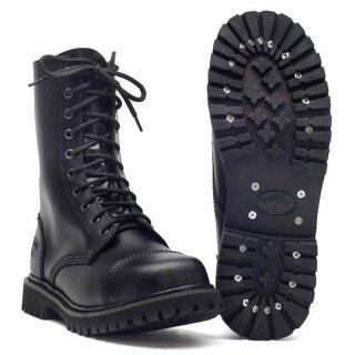 """Stiefel """"Knightbridge-Shoes  10-Loch"""" mit Stahlkappe schwarz neu"""