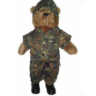 Großer Teddy (54 cm)  mit Stiefeln in BW-Tarnkleidung in der Farbe flecktarn